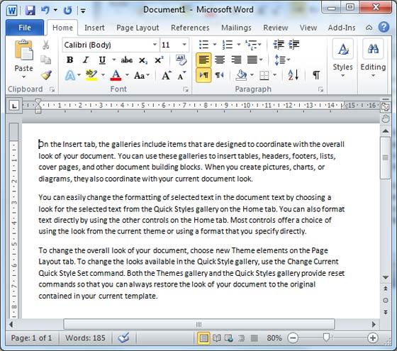 sample word 2010 document